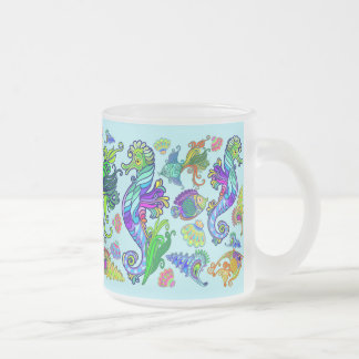 Marine Life Exotic Fishes & SeaHorses Frosted Glass Coffee Mug