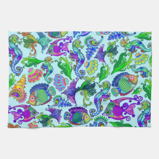 Marine Life Exotic Fishes & SeaHorses Hand Towels