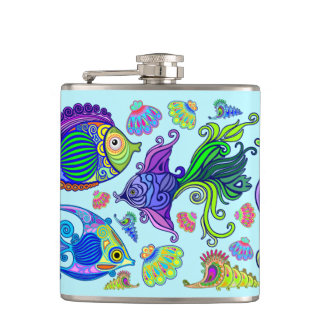 Marine Life Exotic Fishes & SeaHorses Hip Flask