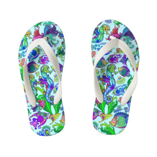 Marine Life Exotic Fishes & SeaHorses Kid's Flip Flops