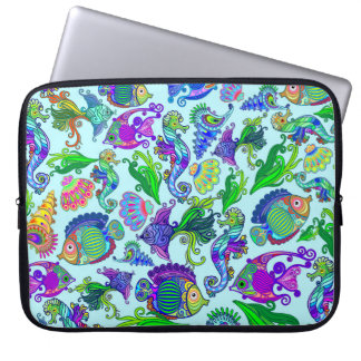 Marine Life Exotic Fishes & SeaHorses Laptop Sleeve