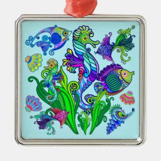 Marine Life Exotic Fishes & SeaHorses Metal Ornament