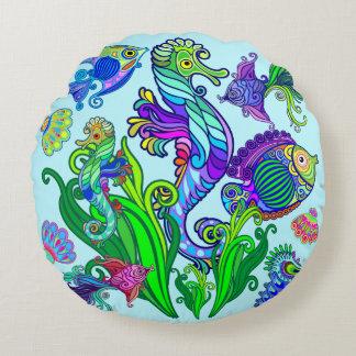 Marine Life Exotic Fishes & SeaHorses Round Pillow