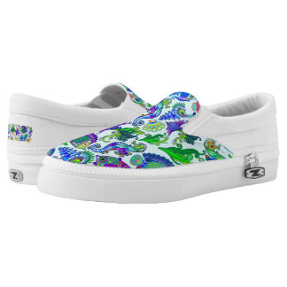 Marine Life Exotic Fishes & SeaHorses Slip-On Sneakers