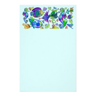 Marine Life Exotic Fishes & SeaHorses Stationery