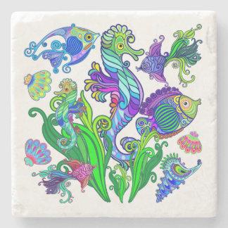 Marine Life Exotic Fishes & SeaHorses Stone Coaster