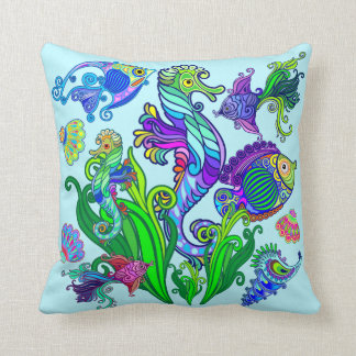 Marine Life Exotic Fishes & SeaHorses Throw Pillow