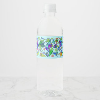 Marine Life Exotic Fishes & SeaHorses Water Bottle Label