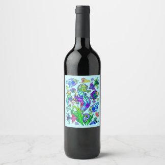 Marine Life Exotic Fishes & SeaHorses Wine Label