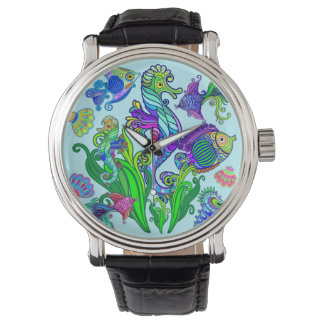 Marine Life Exotic Fishes & SeaHorses Wristwatches