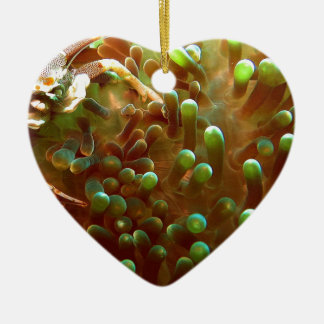 Marine life in the blue ocean water ceramic heart ornament