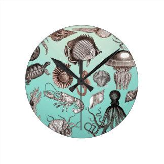 Marine Life Round Clock