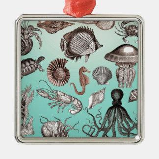 Marine Life Silver-Colored Square Ornament