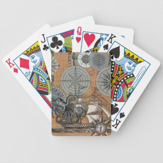 Marine Nautical Art Print Vintage Design Octopus Bicycle Playing Cards