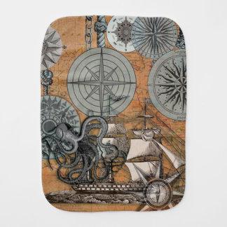 Marine Nautical Art Print Vintage Design Octopus Burp Cloth