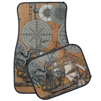 Marine Nautical Art Print Vintage Design Octopus Car Mat