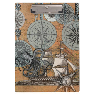 Marine Nautical Art Print Vintage Design Octopus Clipboard