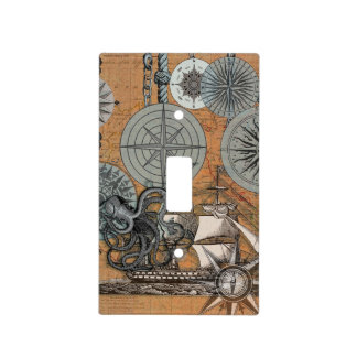 Marine Nautical Art Print Vintage Design Octopus Light Switch Cover