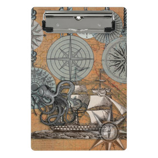 Marine Nautical Art Print Vintage Design Octopus Mini Clipboard