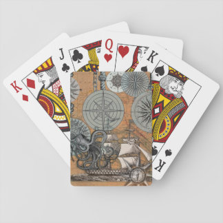 Marine Nautical Art Print Vintage Design Octopus Playing Cards