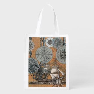 Marine Nautical Art Print Vintage Design Octopus Reusable Grocery Bag