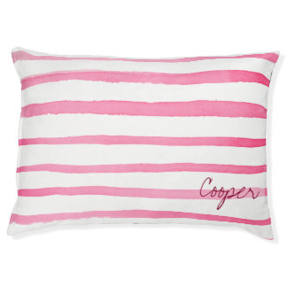 Marine Red and White Stripe Watercolor Pet Bed