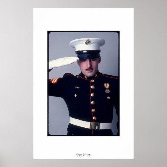 Marine Saluting Poster