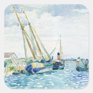 Marine Scene Boats near Venice Square Sticker