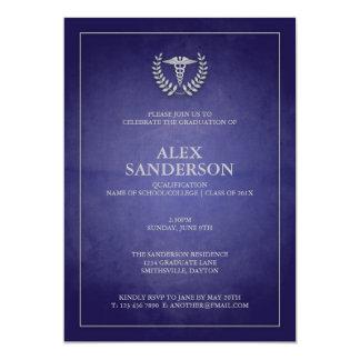 Marine simple et obtention du diplôme médicale carton d'invitation  12,7 cm x 17,78 cm
