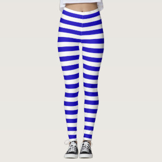 Marine stripes pattern medium stripes blue & white leggings