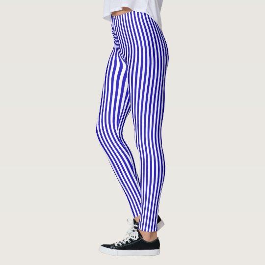 Marine stripes pattern, slim stripes blue & white leggings