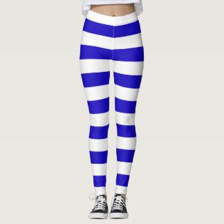 Marine stripes pattern, thick stripes blue & white leggings