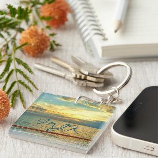 Marine Sunrise Monogrammed Keychain