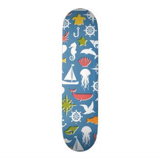 Marine Symbols Pattern Skateboard
