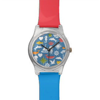 Marine Symbols Pattern Wristwatch