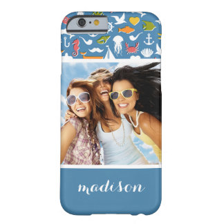 Marine Symbols Pattern | Your Photo & Name Barely There iPhone 6 Case