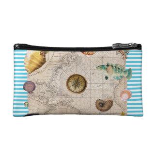 Marine Treasure Blue Stripes Makeup Bag