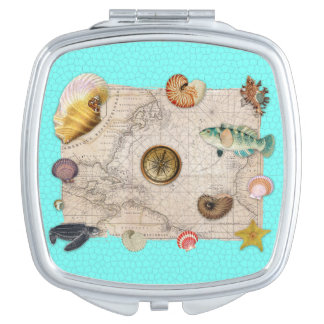 Marine Treasures Beige Vintage Map Teal Compact Mirror