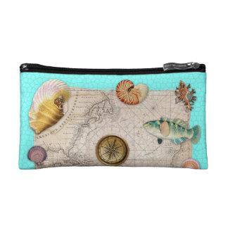 Marine Treasures Beige Vintage Map Teal Cosmetic Bag