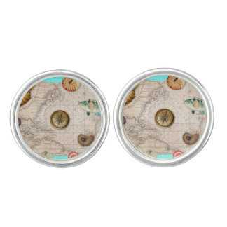 Marine Treasures Beige Vintage Map Teal Cufflinks