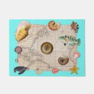 Marine Treasures Beige Vintage Map Teal Doormat