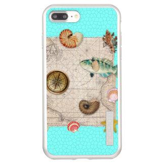 Marine Treasures Beige Vintage Map Teal Incipio DualPro Shine iPhone 8 Plus/7 Plus Case