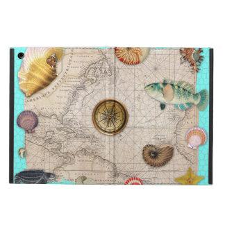 Marine Treasures Beige Vintage Map Teal iPad Air Cover