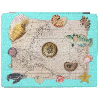 Marine Treasures Beige Vintage Map Teal iPad Cover