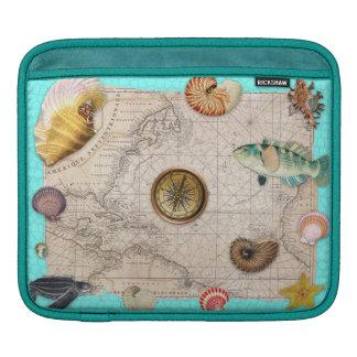 Marine Treasures Beige Vintage Map Teal iPad Sleeve