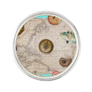 Marine Treasures Beige Vintage Map Teal Lapel Pin