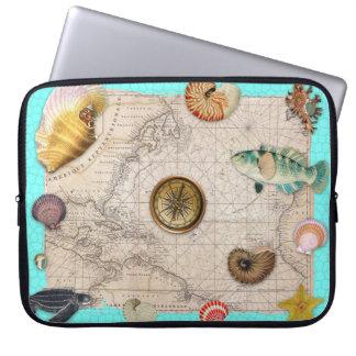 Marine Treasures Beige Vintage Map Teal Laptop Sleeve