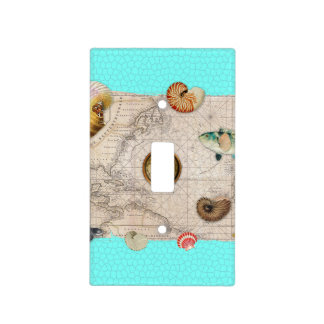 Marine Treasures Beige Vintage Map Teal Light Switch Cover