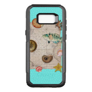 Marine Treasures Beige Vintage Map Teal OtterBox Commuter Samsung Galaxy S8+ Case