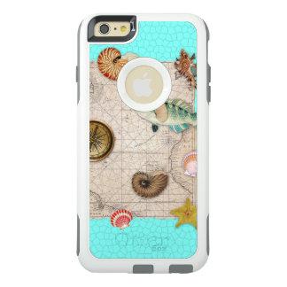 Marine Treasures Beige Vintage Map Teal OtterBox iPhone 6/6s Plus Case